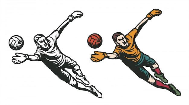 Вратарь прыжок поймать мяч иллюстрация