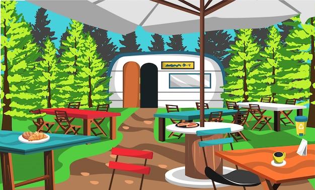 Кафе лагерь на лесу природы
