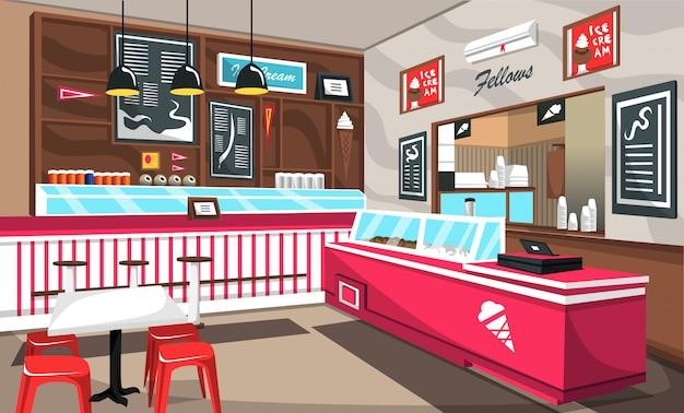 アイスクリームカフェのカラフルなデコレーション