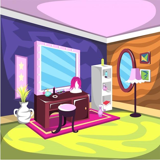 大きな鏡と化粧品のある化粧室