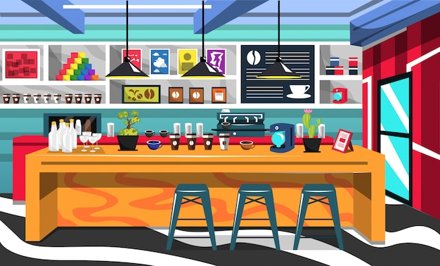 コーヒーメーカーマシンとコーヒーショップルーム