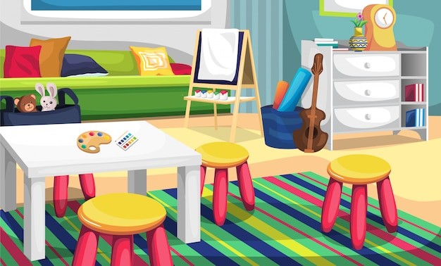 Детская художественная комната и детская игровая площадка с цветовой палитрой, холстиной, биолой, дверями, подушкой и зеленым диваном для иллюстрации идеи дизайна интерьера