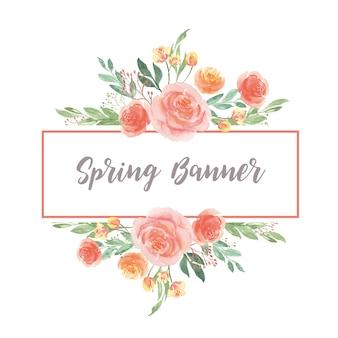 水彩花柄手描きのテキストバナー