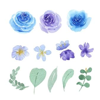 花と葉の水彩画要素セット