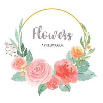 水彩花柄手描きのテキストの花輪
