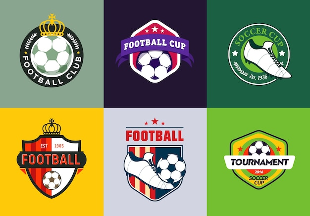 ヴィンテージ色のサッカー選手権のロゴのセット