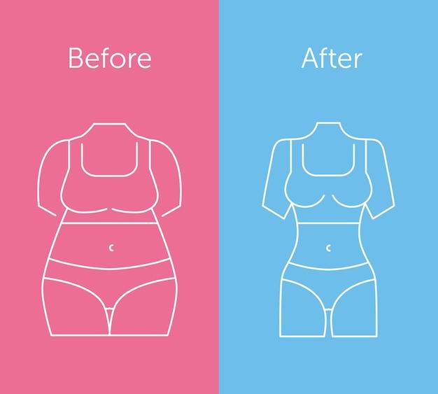 脂肪とスリムな女性の姿
