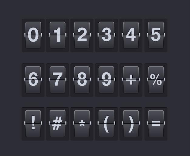 数字と記号を機械的なスコアボードに