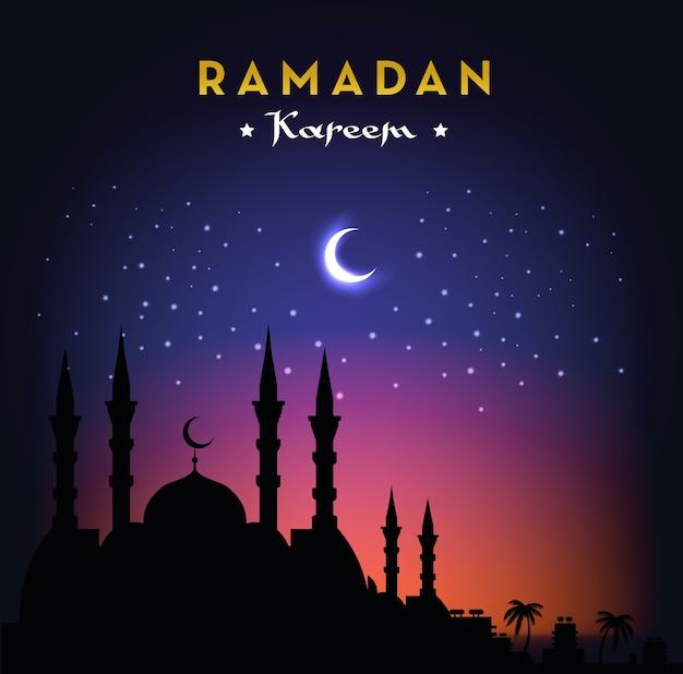 Рамадан карим поздравительная открытка с мечетью и ночным небом