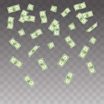 Бумажные деньги, падающие на прозрачный фон