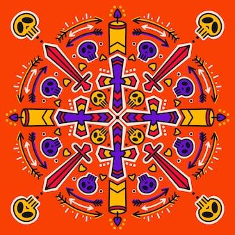 Образец с черепом, мечом, свечами и стрелами.