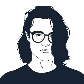 メガネを持つ男