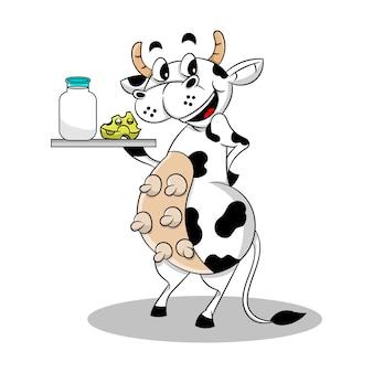 牛乳とチーズの瓶を提供する乳牛