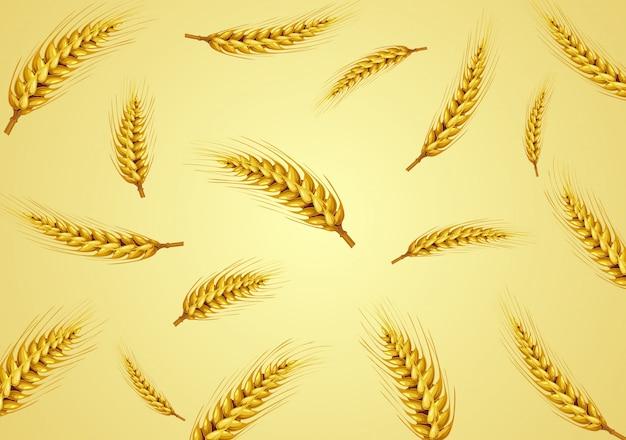 金色の背景で分離された小麦