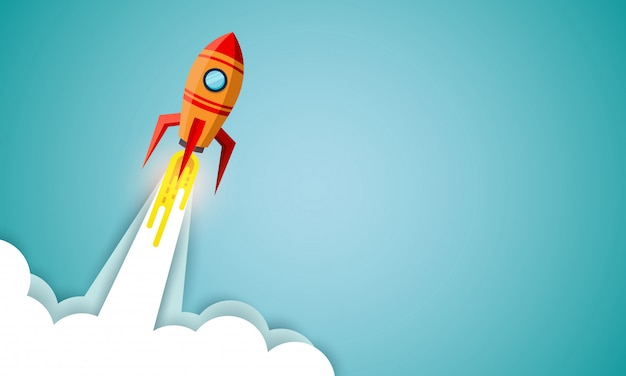 青の背景に空へのスペースシャトルの打ち上げ。ビジネスコンセプトを起動します。ベクトルイラスト