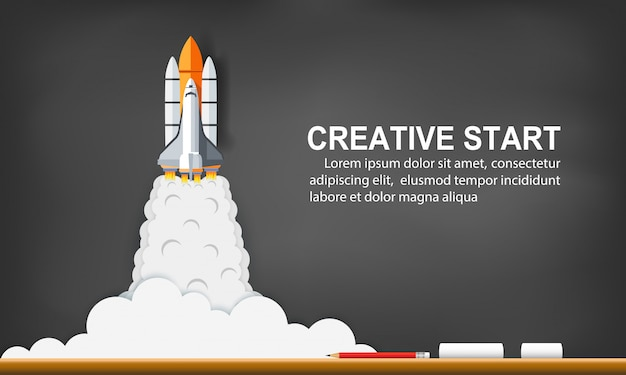 背景の黒板に空へのスペースシャトルの打ち上げ。ビジネスコンセプトを起動します。独創的なアイデア。ベクトルイラスト