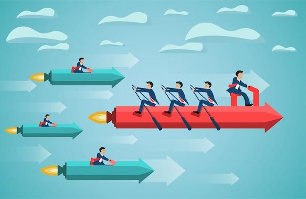 空の成功目標に手漕ぎ矢印のビジネスチームワーク。独創的なアイデア。競合するコンセプト