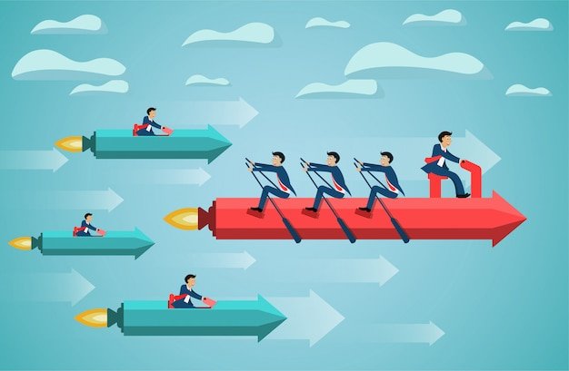 Бизнес команде на гребле стрелка на небо успех цели. креативная идея конкурирующая концепция