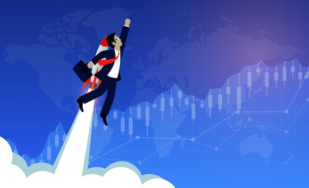Бизнесмен летит с ракетными двигателями вперед к цели