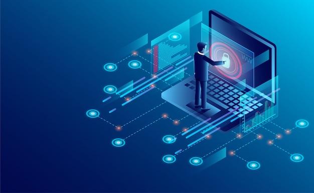 Концепция защиты конфиденциальности. бизнесмен защищает данные и конфиденциальность безопасности