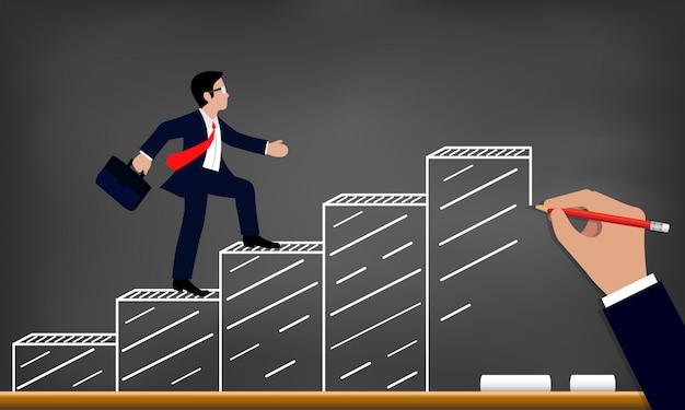 ビジネスマンは、目標描画に棒グラフを歩きます。