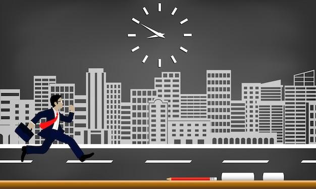 Бизнесмены бегут к гонкам со временем. следуйте за часами, чтобы работать допоздна.