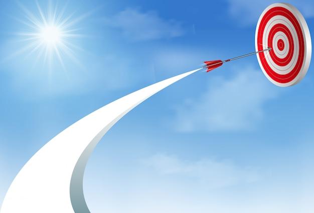 空まで飛んでいる赤い矢ダーツは、中央の目標に行きます。ビジネス成功の目標創造的なアイデア