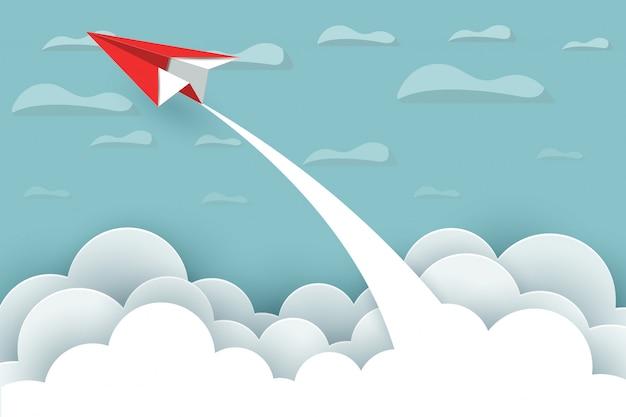 Бумажный самолетик взлетает в небо, между облаками и природным ландшафтом идут цели. мультфильм векторные иллюстрации