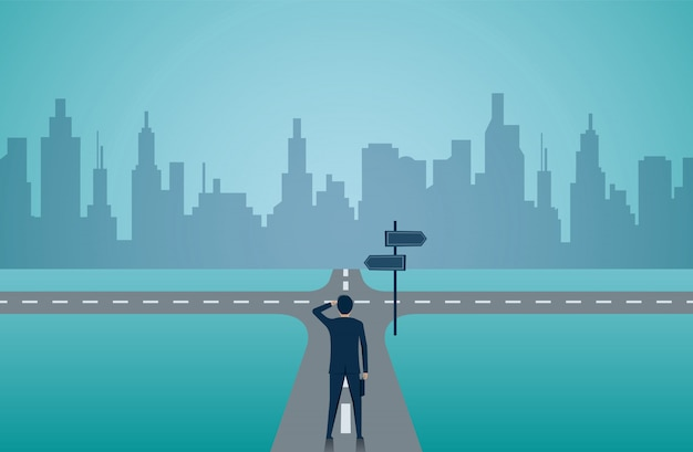 Бизнесмены стоят на дороге, перекресток.