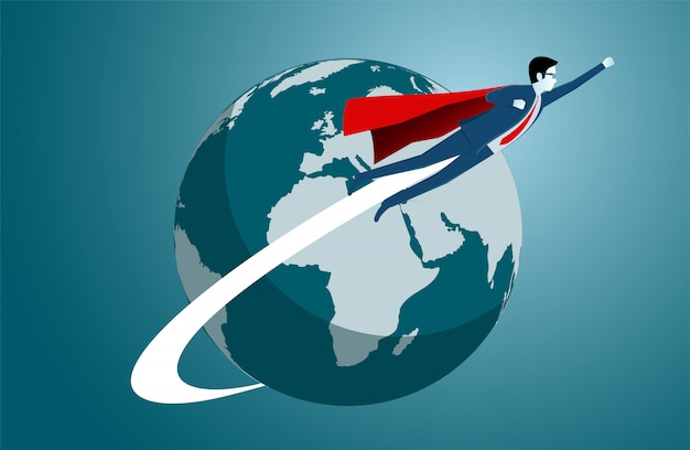地球を飛び回るビジネスマン