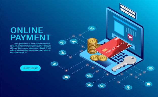 コンピューターによるオンライン支払い。ノートパソコン取引のお金の保護。