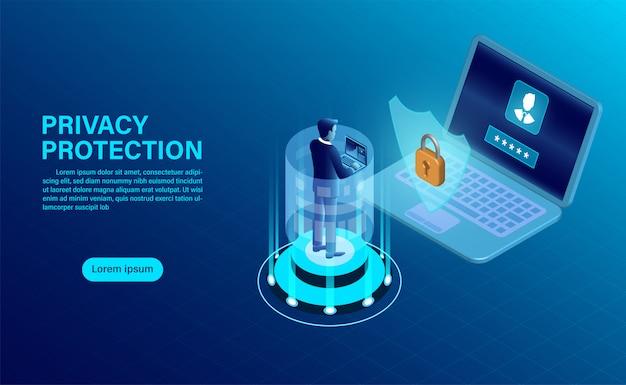 ビジネスマンは、コンピューター上のデータと機密性を保護します。データの保護とセキュリティは機密です