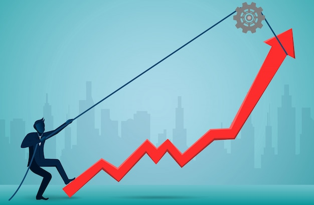 ビジネスマンはロープを使用して赤い矢印を引っ張り、究極の成功目標に方向を変えます