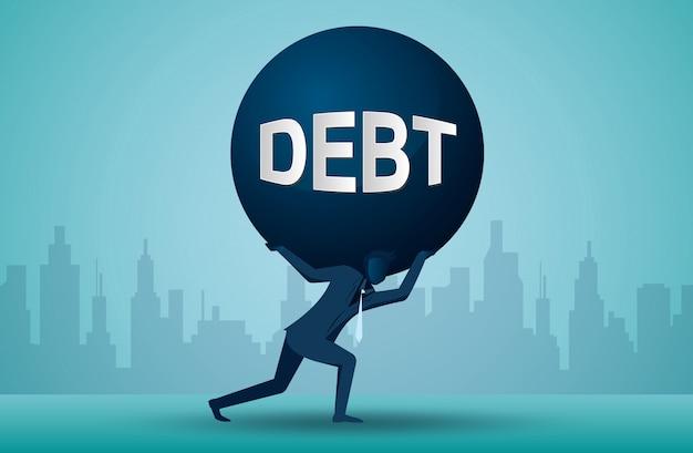Иллюстрация одного делового человека, который несет бремя задолженности
