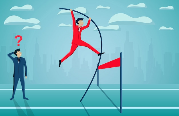 ビジネスマンの競争は、成功の目標にフィニッシュラインに行く