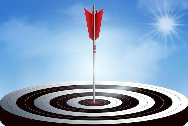 Красные стрелки дротики в цель. цель успеха в бизнесе