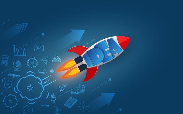 空へのスペースシャトルの打ち上げ。青色の背景から分離