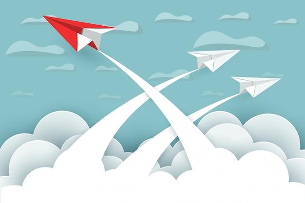 Бумажный самолетик красный и белый летят в небо, между облаками и природным ландшафтом идут цели. запускать. руководство. концепция успеха в бизнесе. креативная идея мультфильм векторные иллюстрации