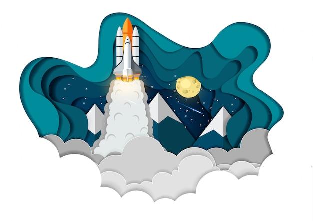 Запуск космического челнока в небо, запуск концепции финансирования бизнеса, векторное искусство и иллюстрация бумаги