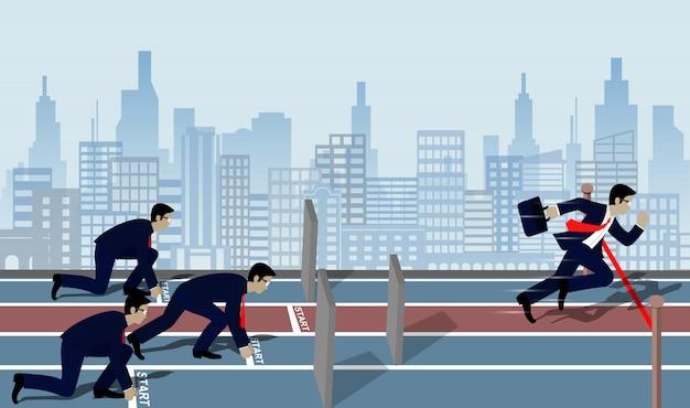 Бизнесмен бежать к финишу к успеху в бизнес-концепции