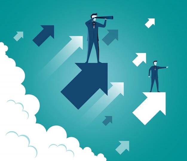 Бизнесмен стоя держащ бинокль стоя на стрелке до неба пока над облаком