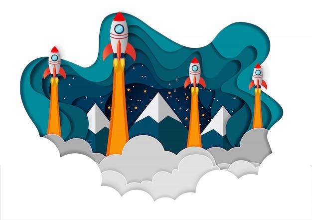 Космический челнок все четыре соревнуются на пути к успеху