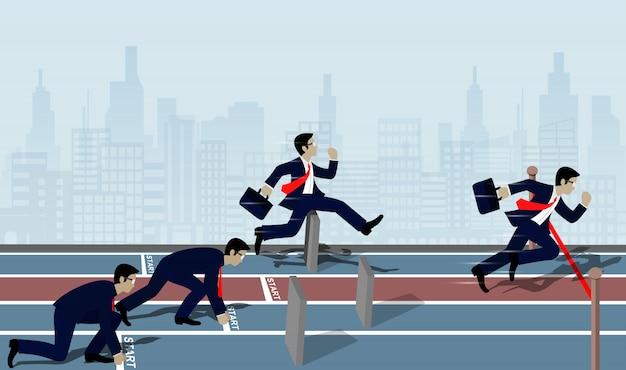 ビジネスマンの競争は成功へのフィニッシュラインに走る