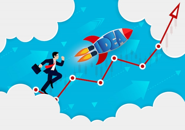 赤い矢印で実行されるビジネスマンおよびロケットは目標に行く