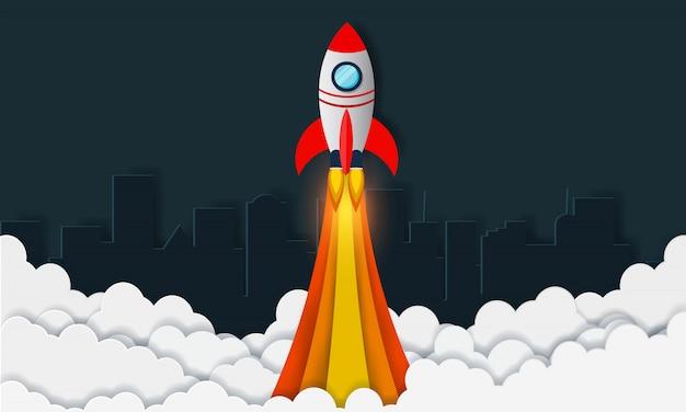 空へのスペースシャトルの打ち上げ