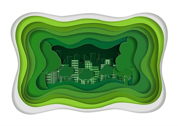Зеленый город концепция эко дружественных. искусство, ремесло и бумага