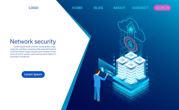 Безопасность данных в сети. защита обработки данных. цифровая информация. плоская изометрия