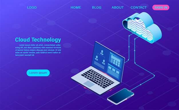 最新のクラウドテクノロジーとネットワーキング。オンラインコンピューティングテクノロジー。大きなデータフロー処理の概念、インターネットデータサービスの図