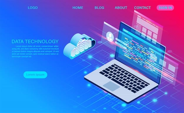 データセンターサーバールームクラウドストレージテクノロジーとビッグデータ処理データセキュリティの保護。デジタル情報。等尺性。漫画