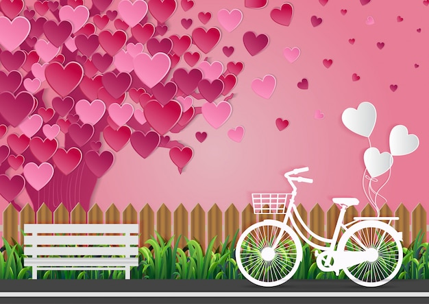 バレンタインデーの愛の概念通りに自転車があり、風船が結ばれています。ピンクの空の美しい自然。ベクトルイラスト